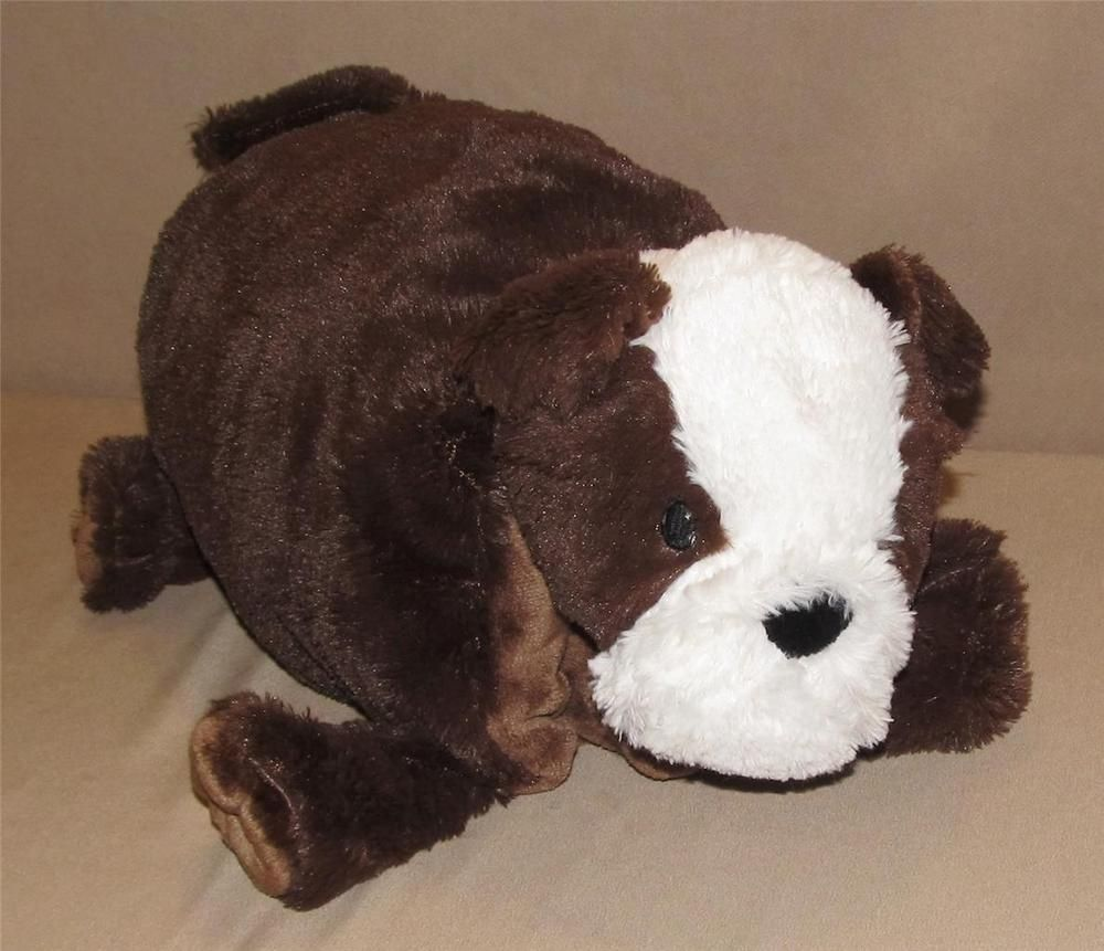 Little Miracles Brown White Bulldog Puppy Dog Folding Pillow Plush