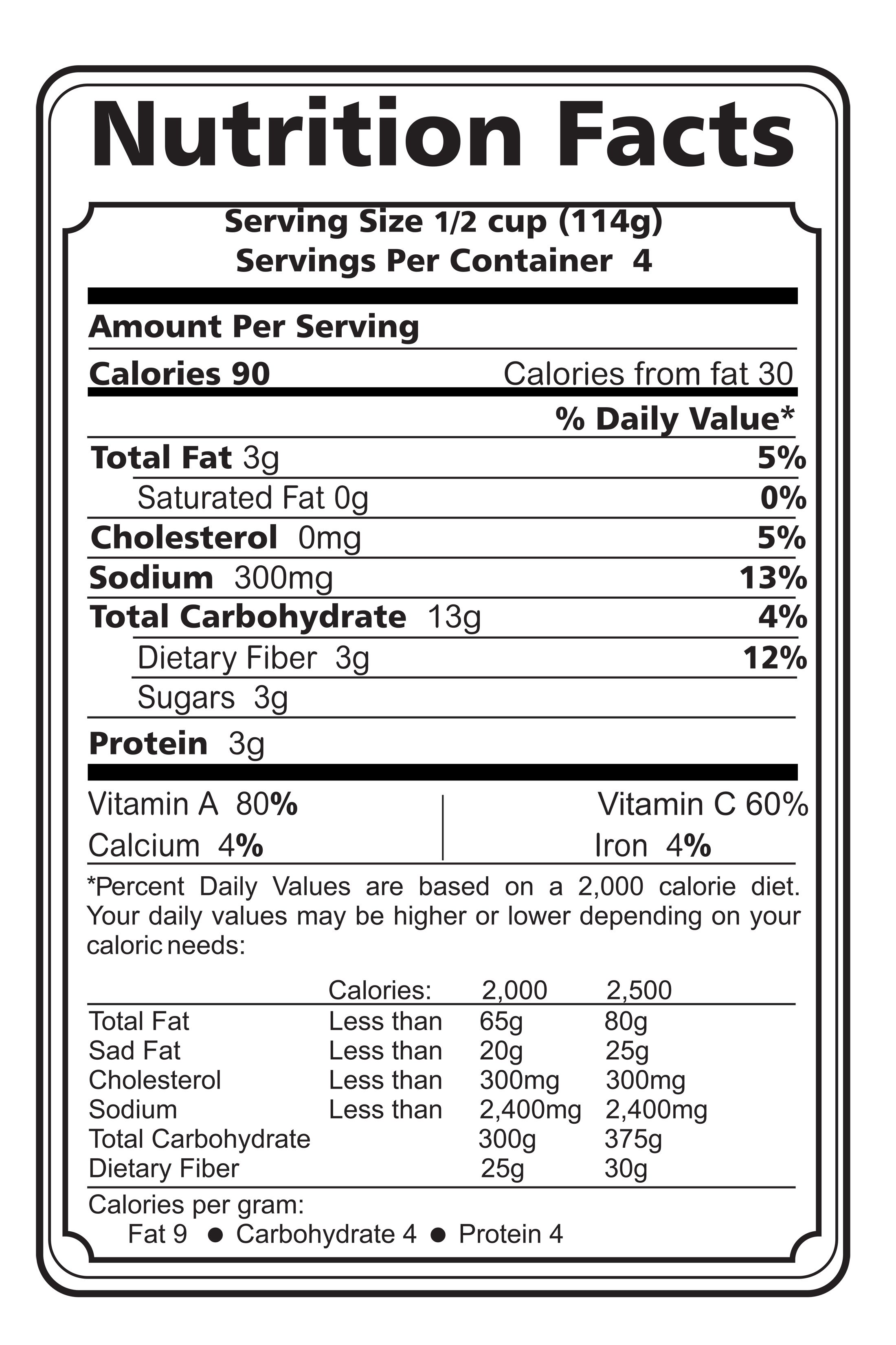 Horlicks Nutrition Label