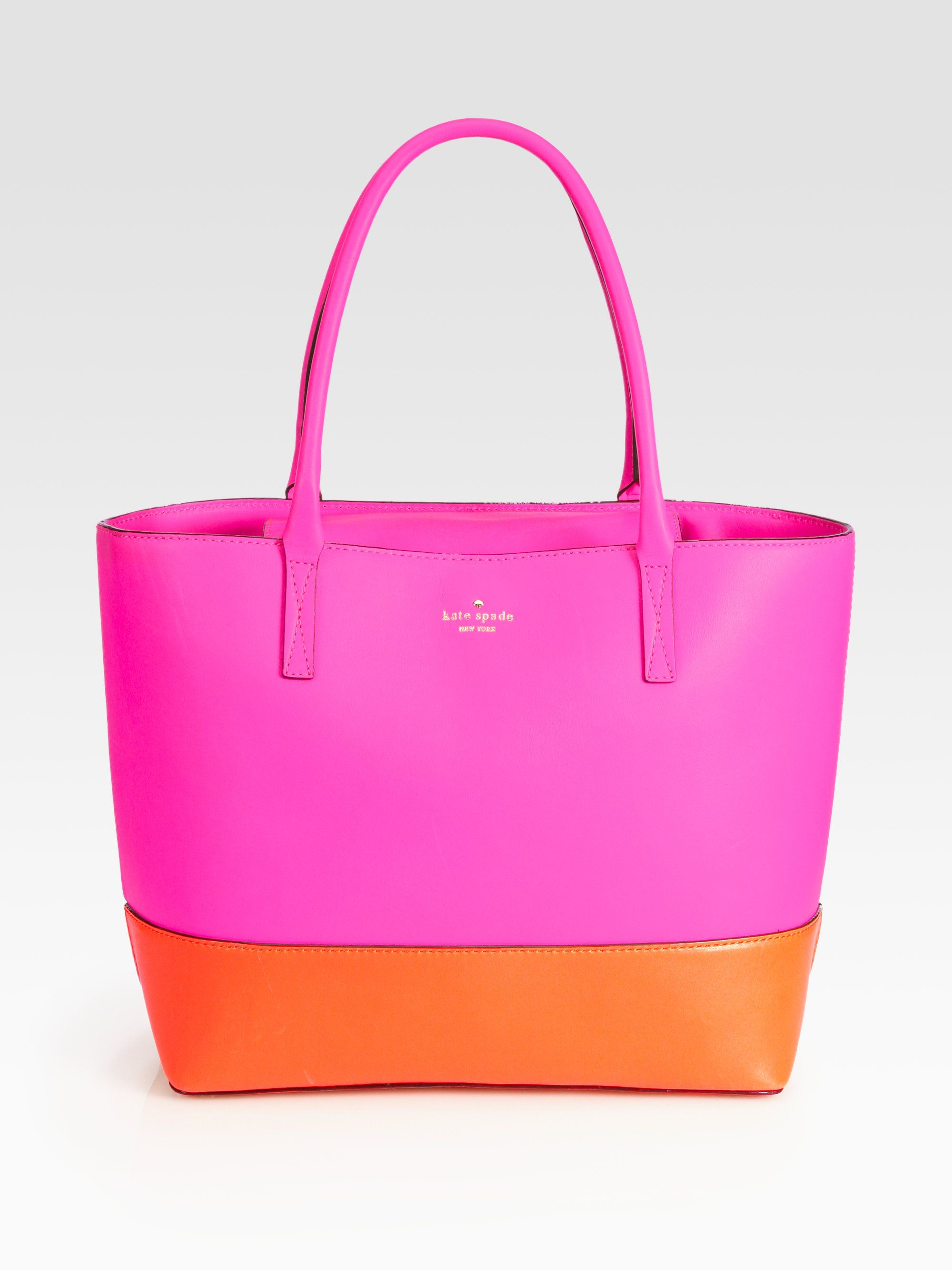 396b5f8a9a1a Kate spade Madison Park Small Colorblock Tote in Orange (pink-orange) | Lyst,Gorgeous  Kate Spade New York completely sold out bright orange and pink ...