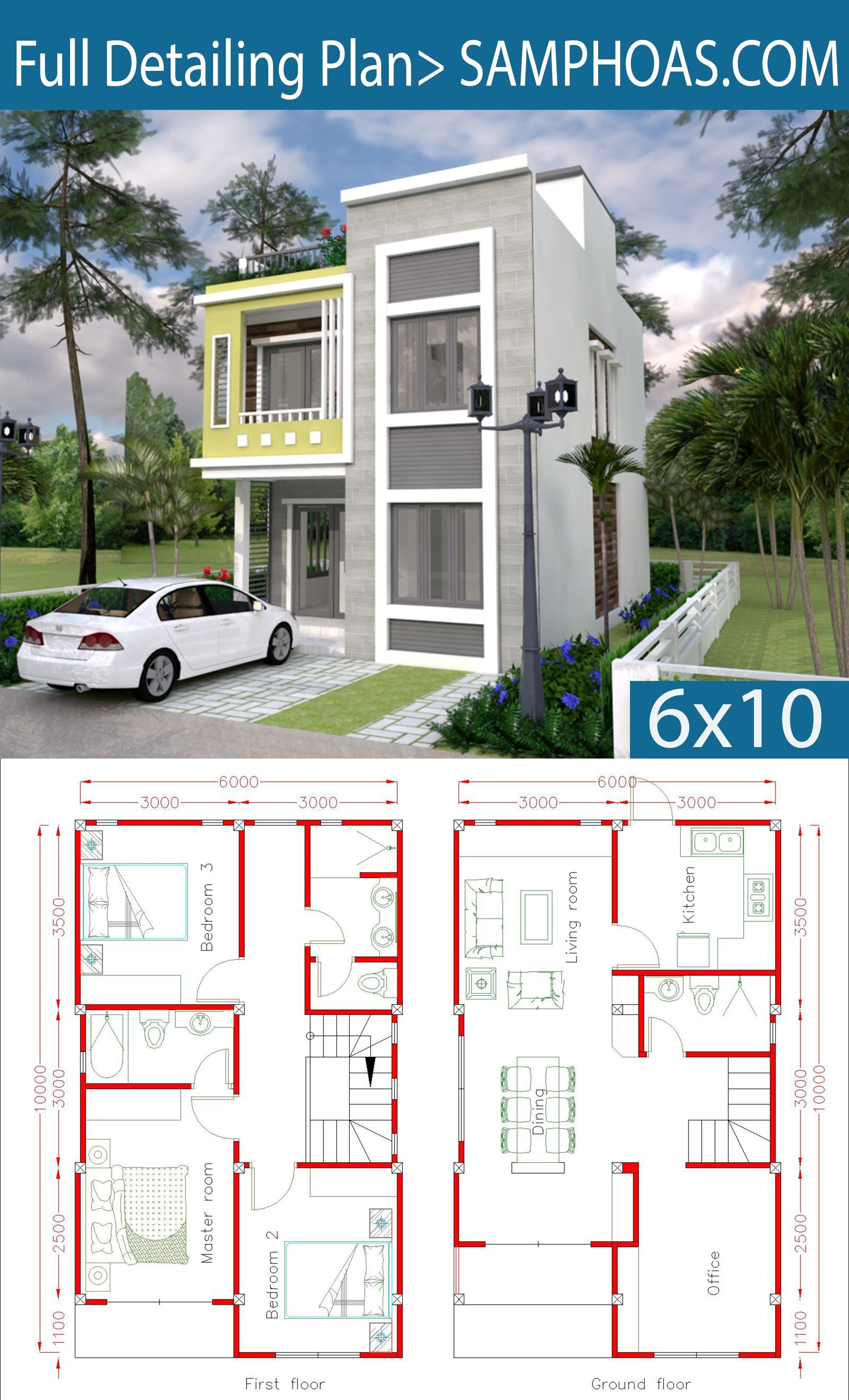 The House Has Small Garden Office Living Room Dining Room Kitchen 3 Bedrooms With 2 Bathrooms 1 G Model House Plan Duplex House Plans House Plans