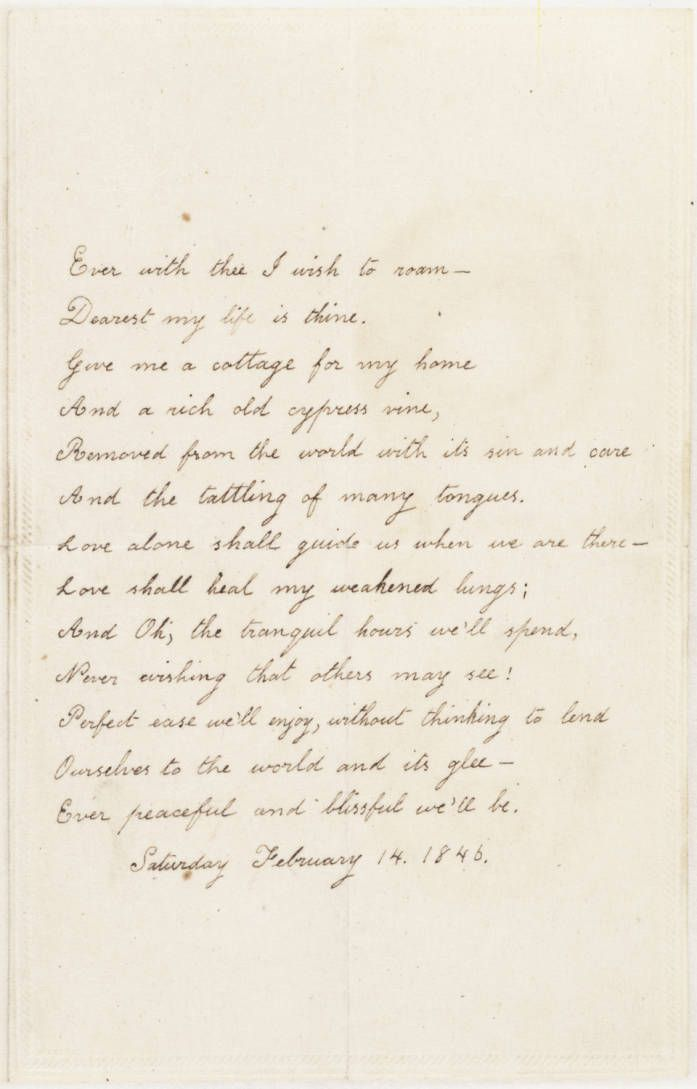 Valentine Poem Virginia Poe To Edgar Allan Poe, February-5833