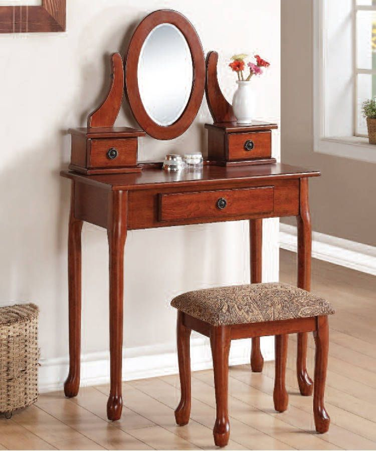 Jonas Cherry Fabric Wood Glass Vanity Set | Vanity Set | Pinterest