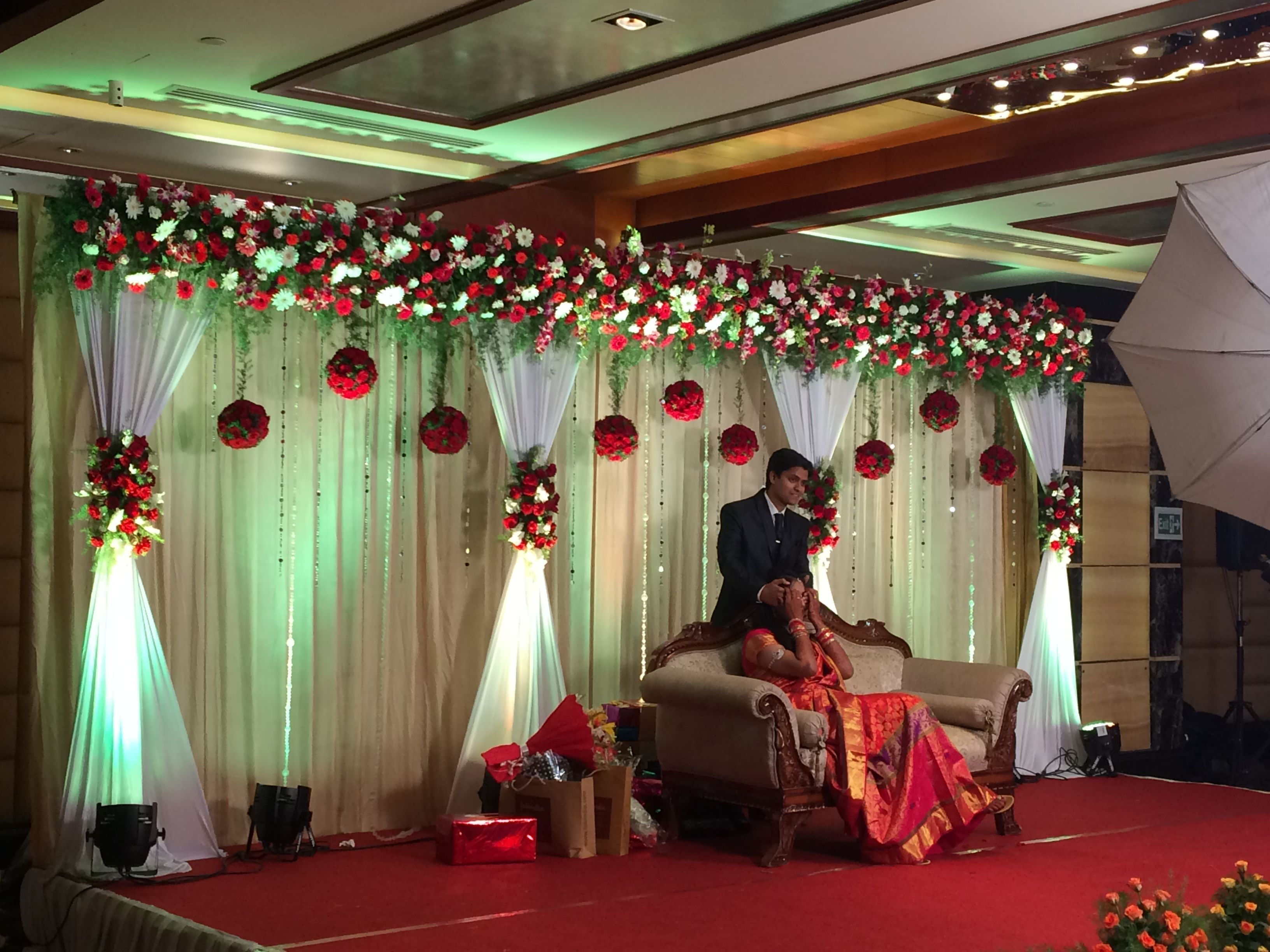 wedding stage decoration pics%0A floral and  curtainlights backdrop asianwedding decoration   Wedding  Inspiration   Pinterest   Curtain lights  Backdrops and Decoration