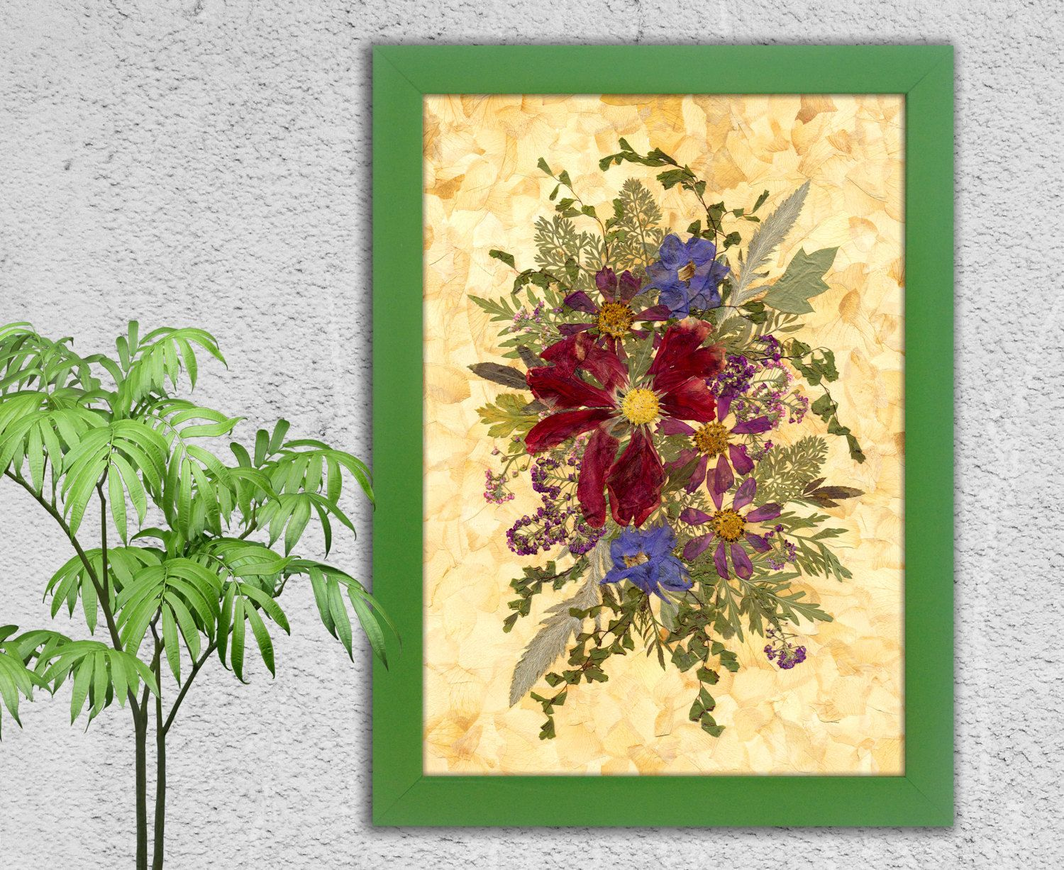 Birthday Gift Kitchen Decor Kitchen Wall Art Floral Art | Pressed ...