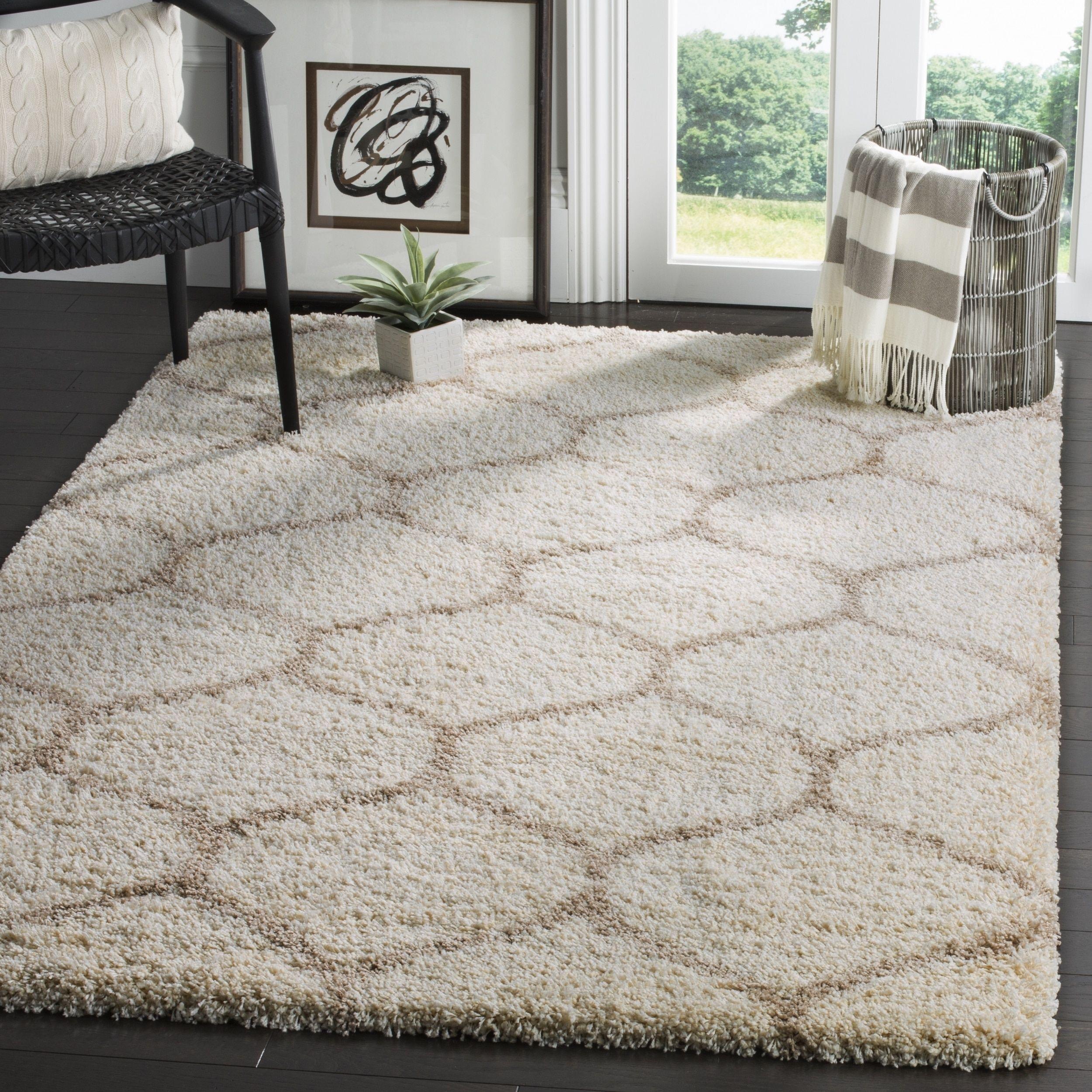 rug for living room size%0A Safavieh Hudson Shag Ivory  Beige Area Rug    u     Square   SGH   D SQ   Size    u      Polypropylene  Geometric