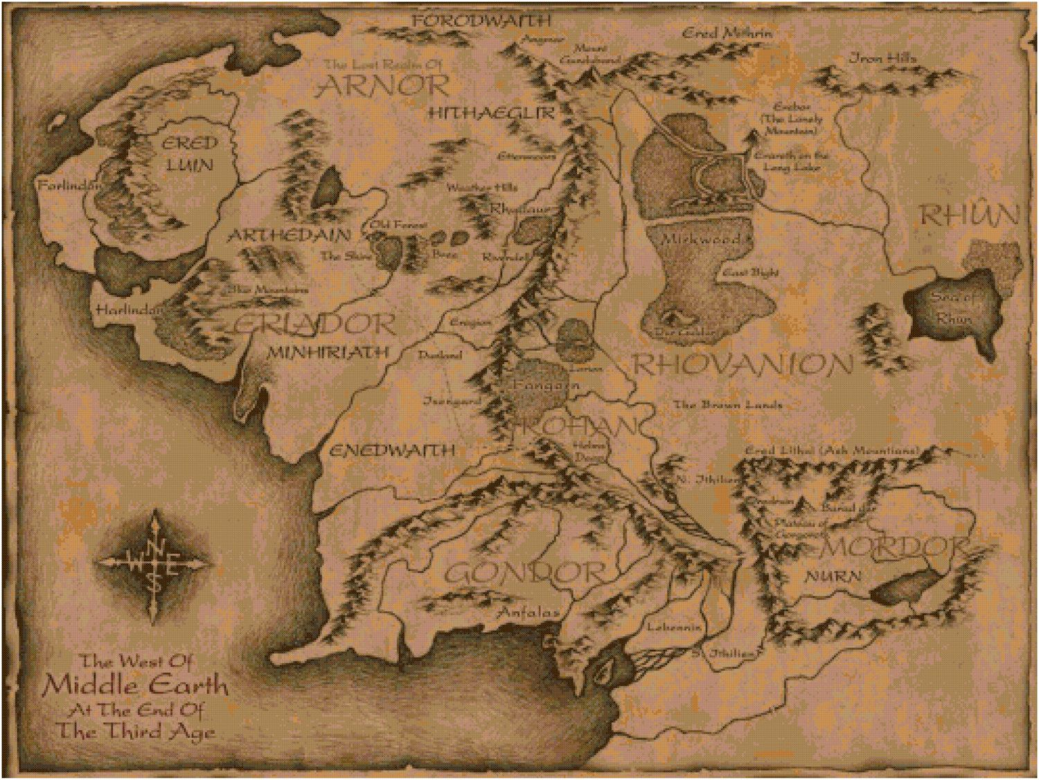 Map For Lord Of The Rings%0A Good Middle Earth map for those wondering where The Hobbit occurs in  relation to LOTR