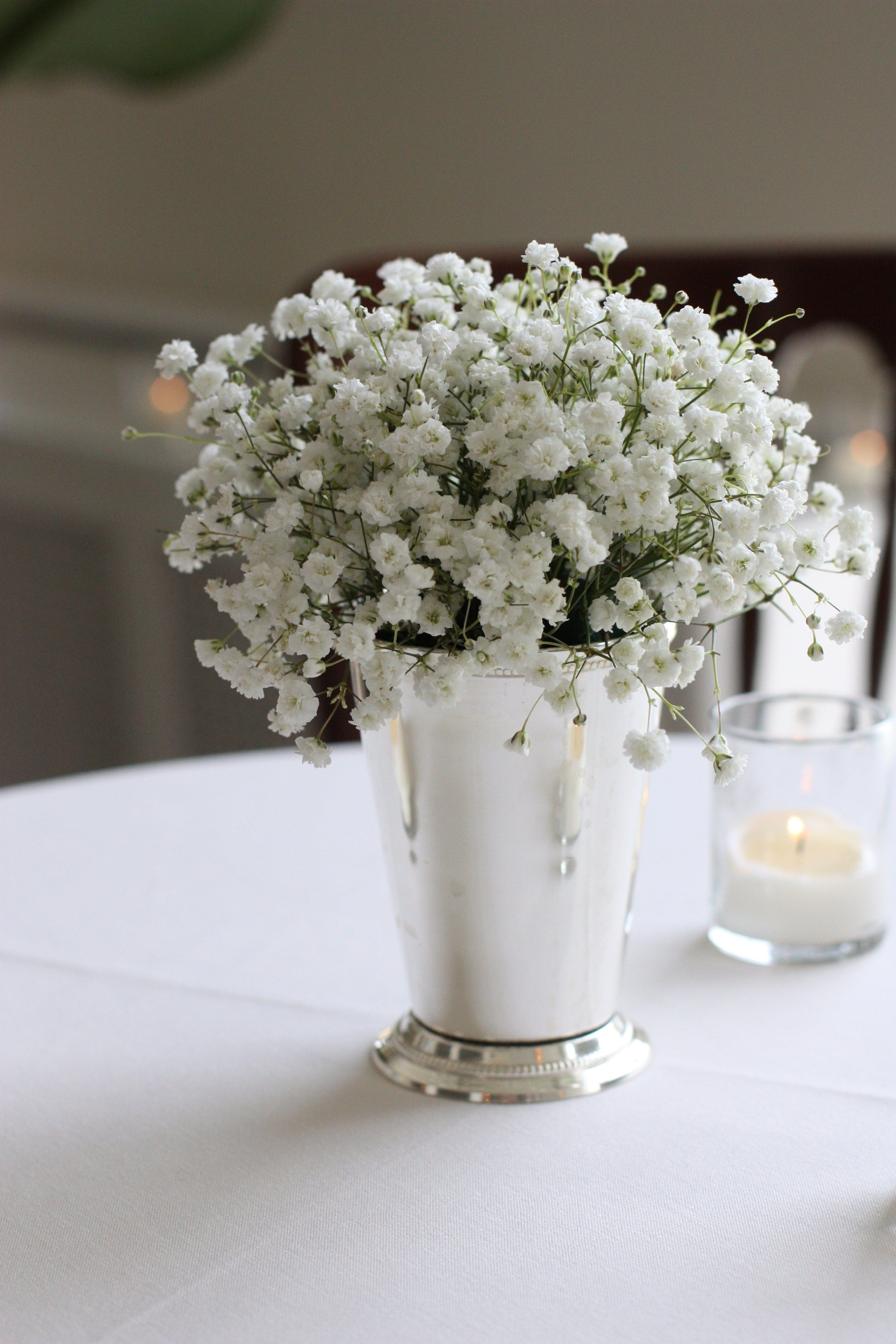 cocktail hour babys breath in a julep cup amandas wedding in rh pinterest com