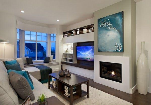 Salon mueble tv libreria 600 417 salones for Salones con chimeneas electricas