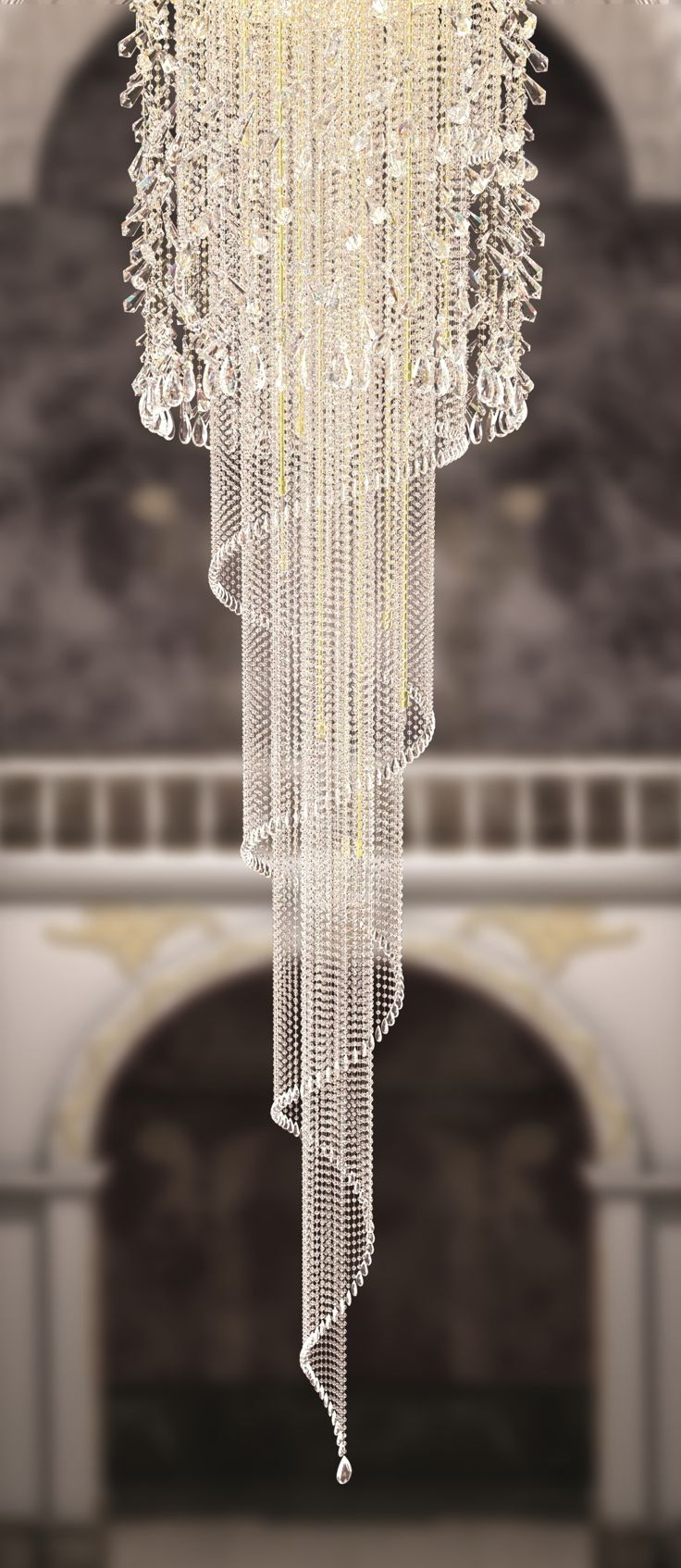 Spiral chandelier idea for with decorative crystal trimmings and spiral chandelier idea for with decorative crystal trimmings and chains interior stairs ideas arubaitofo Choice Image