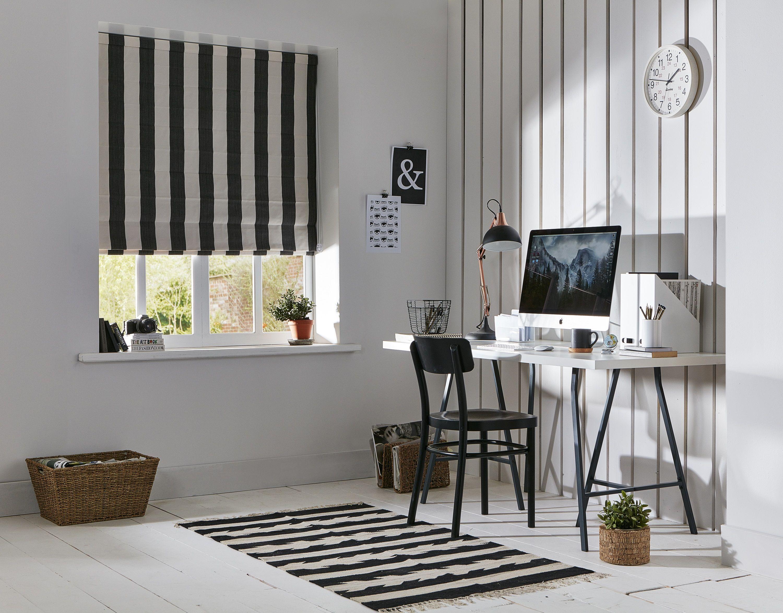 apollo you choose black and white striped roman blind home office rh pinterest com