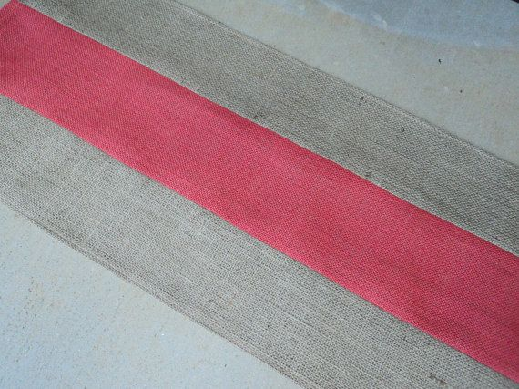 coral and natural burlap table runner striped table runner coral rh pinterest it