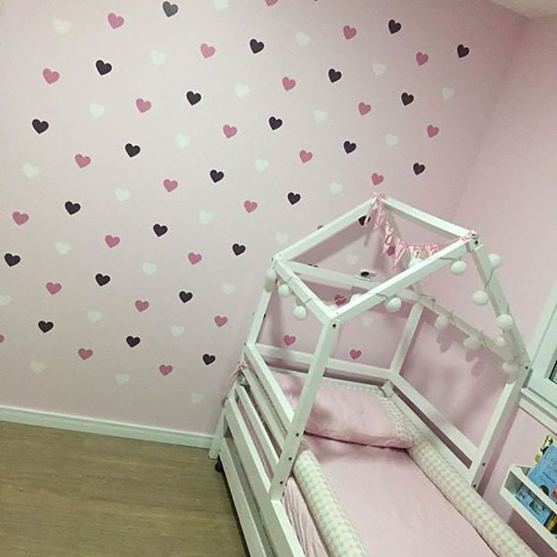 Heart Wall Sticker For Kids Room Baby Girl Room Decorative Stickers Nursery Bedroom Wall Decal Stickers Home Decoration Kids Room Wall Stickers Baby Room Decor Wall Stickers