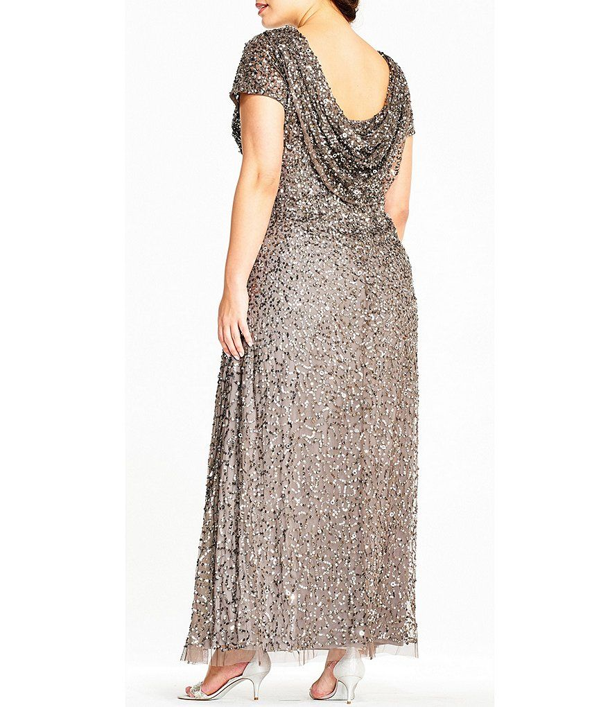 Adrianna Papell Plus Size Sequin Draped Gown | Dillards in ...