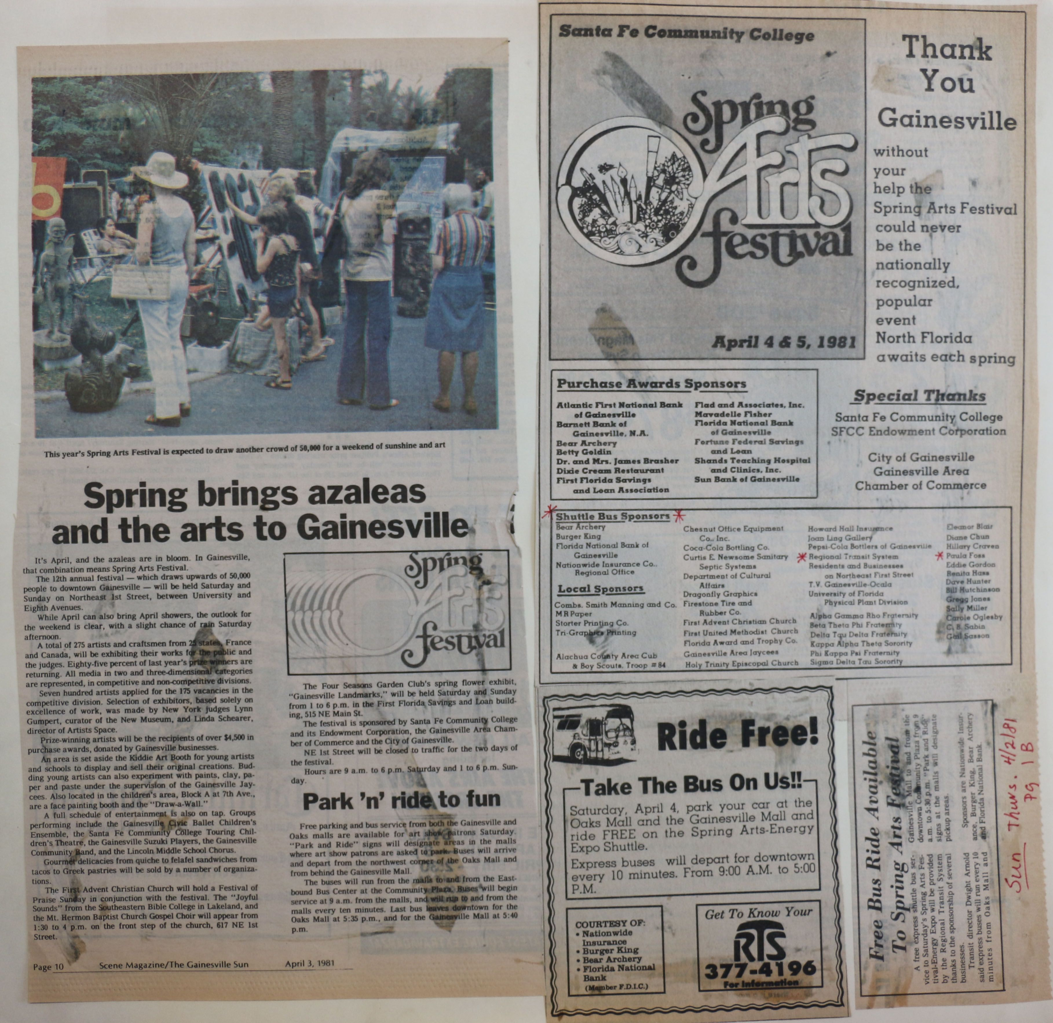 News Article From Sun 4 3 81 Ads For Rts And Arts Festival