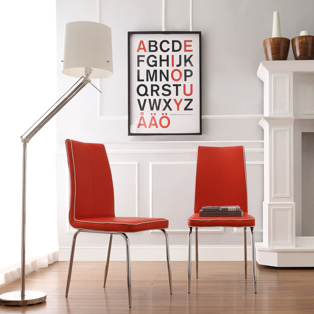 INSPIRE Q Matilda Hot Red Retro Modern Dining Chair (Set of 2) - Overstock