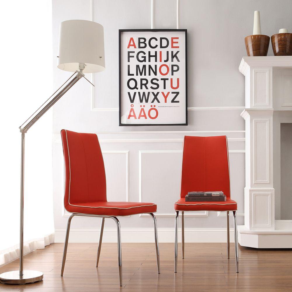 INSPIRE Q Matilda Hot Red Retro Modern Dining Chair (Set of 2) - Overstock