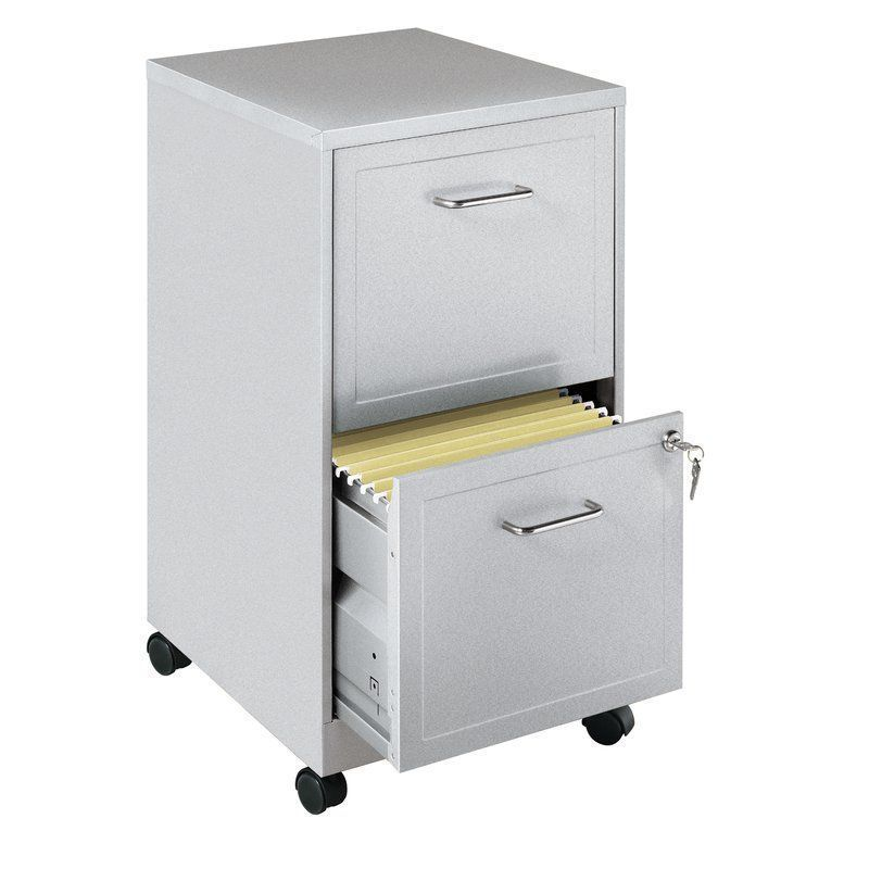 Metal Portable File Cabinet Locking Rolling 2 Drawer Filing Office Silver Cart Metalportablefile Filing Cabinet Drawer Filing Cabinet Mobile File Cabinet
