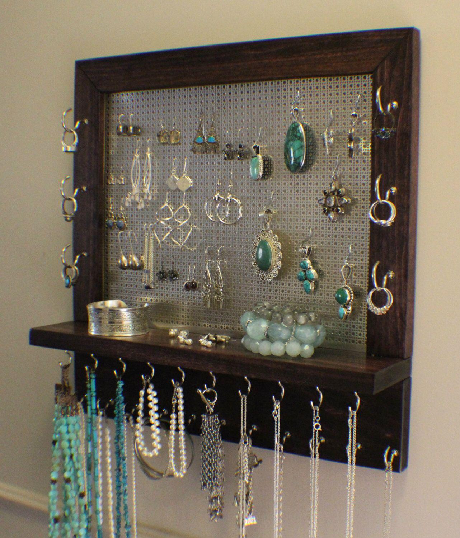 Classic Dark Cherry Stained Wall Mounted Jewelry Organizer Wall