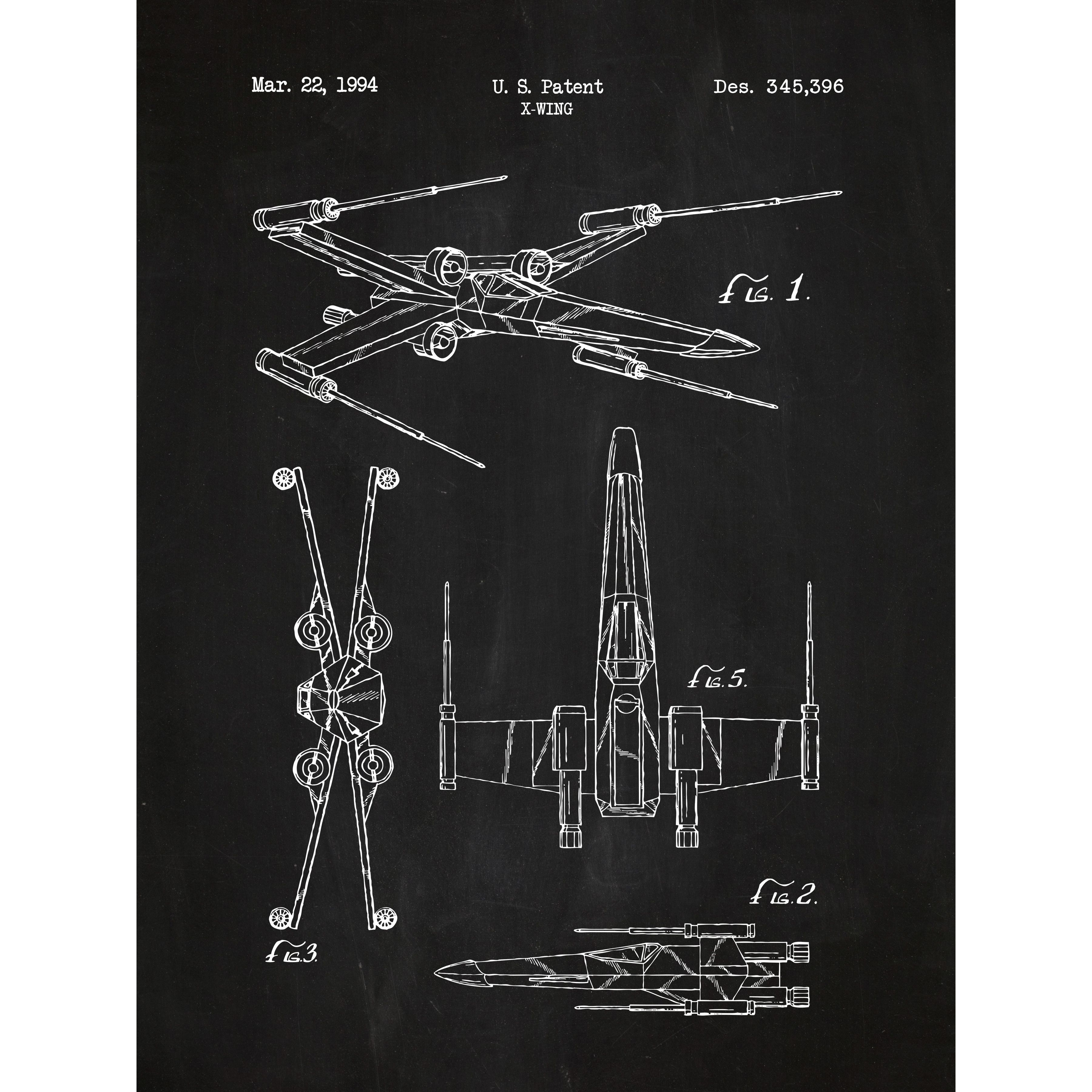 Star wars x wing 2 blueprint graphic art poster in chalkboard white star wars x wing 2 blueprint graphic art malvernweather Image collections