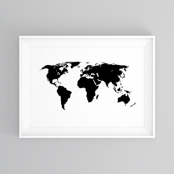 World map wall art black and white poster world map poster world map wall art black and white poster world map poster printable world gumiabroncs Image collections