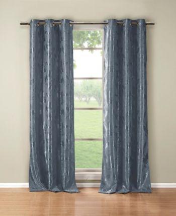 Duck River Textile Blair 36 X 84 Leaf Print Blackout Curtain Set