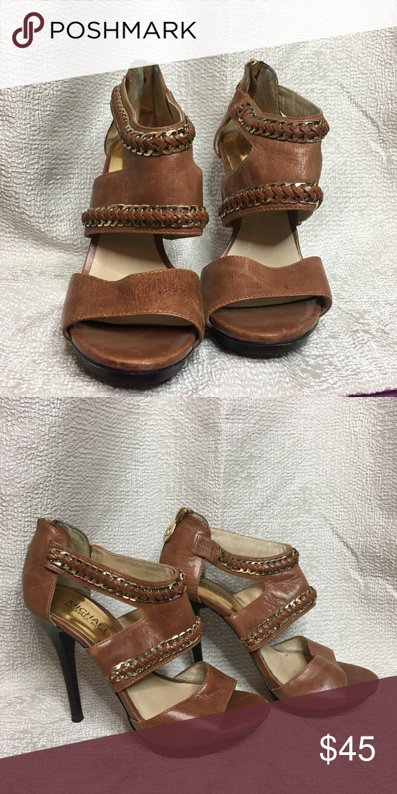 b7862be5853814 Michael Michael Kors High Heel Sandals Michael Michael Kors High Heel Sandals  Brown leather with gold