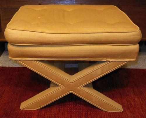 Superb Milo Baughman X Frame Bench Ottoman Footstool Hollywood Theyellowbook Wood Chair Design Ideas Theyellowbookinfo