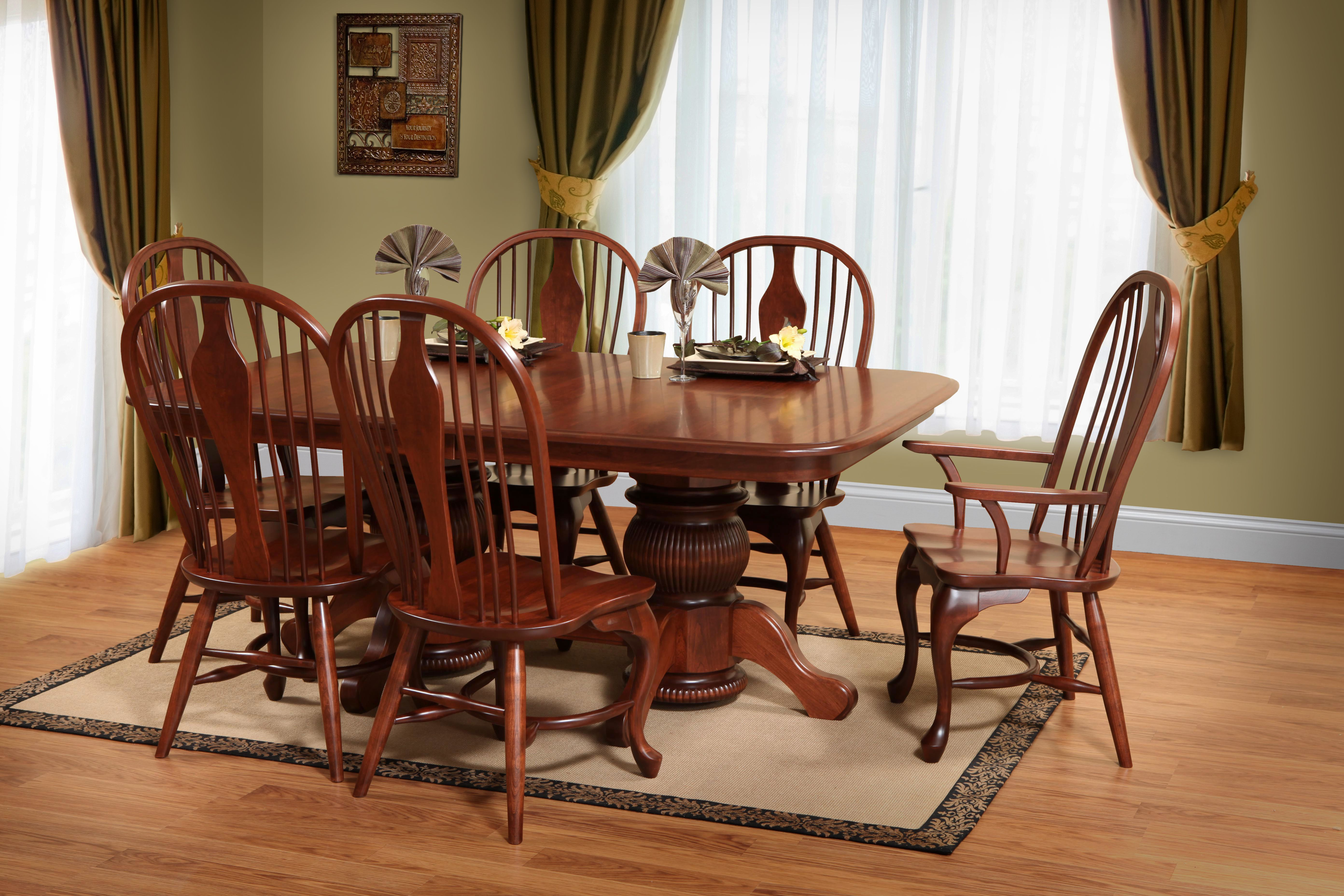 Popular This Week A Rich Cherry Stain And Regal Details Give This Double Pedestal Table A Stately App Dining Room Furniture Oval Table Dining Dining Room Sets