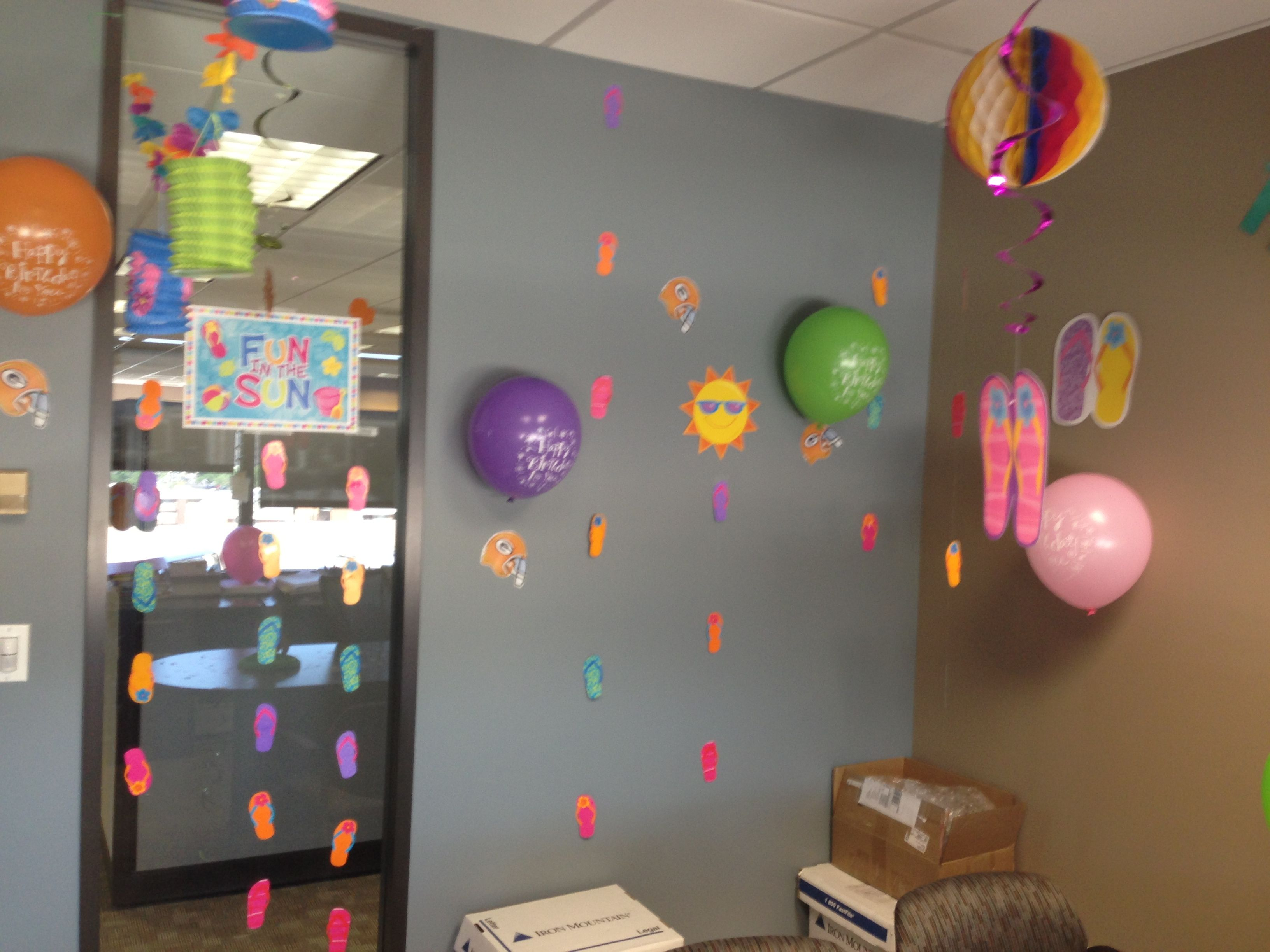 Office birthday decorations Summer themed My own DYI and My Stuff