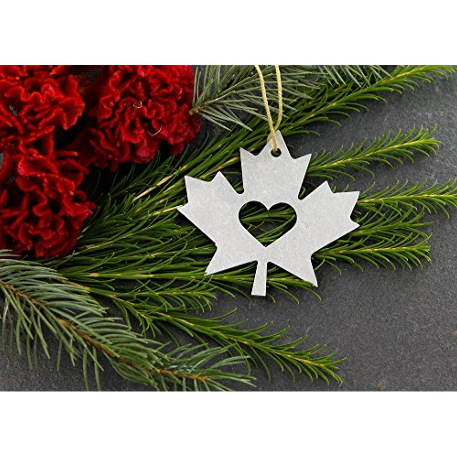 Love Canadian Maple Leaf Symbol Christmas Ornament Rustic ...
