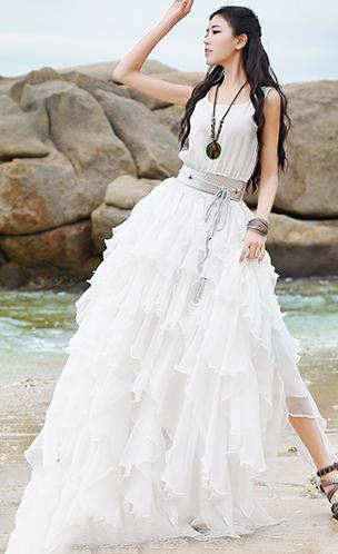 4b782cb35e New-white-holiday-dress-o-neck-sleeveless-floor-length-dress-ruffles-dresses -elastic-waist-holiday-dress3