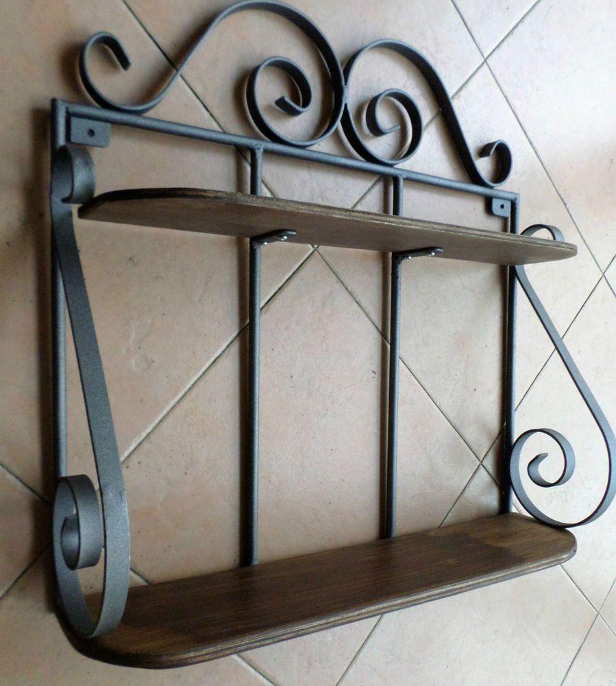 Mensola pensile struttura in ferro battuto e legno rustica rustico ...