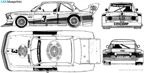 BMW 2002 TII Group 4 Coupe blueprint
