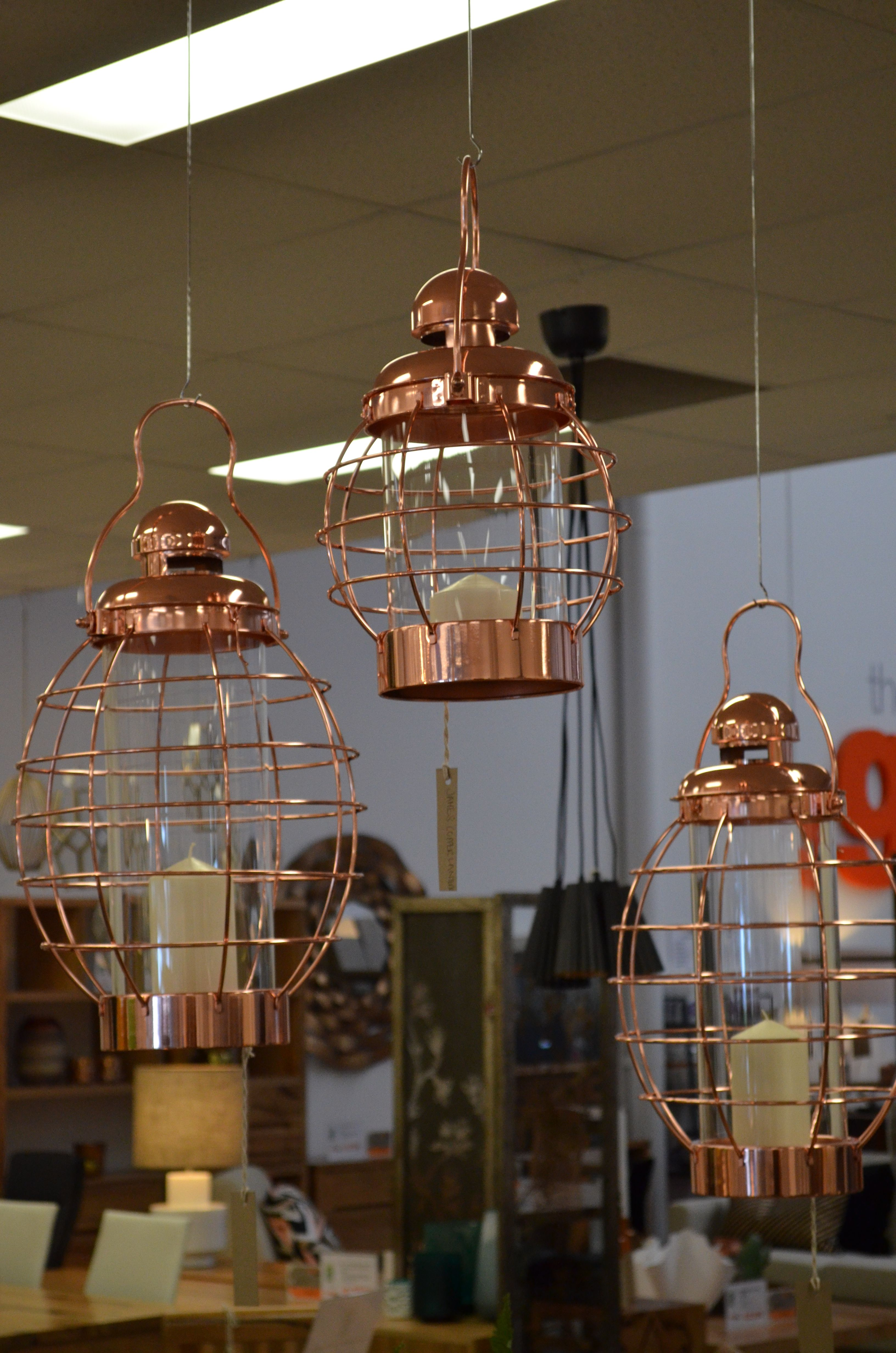 Furniture Osborne Park Rosy Glow Copper Wire Hurricane Lanterns From The