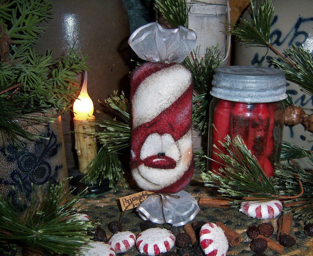Primitive Patti S Ratties Peppermint Christmas Snowman Candy Ornament Bear Doll Peppermint Christmas Candy Ornaments Christmas