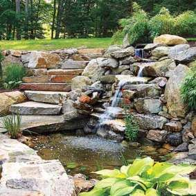 backyard landscape design - Backyard Pond / Waterfall Landscape Design. from thisoldhouse.com