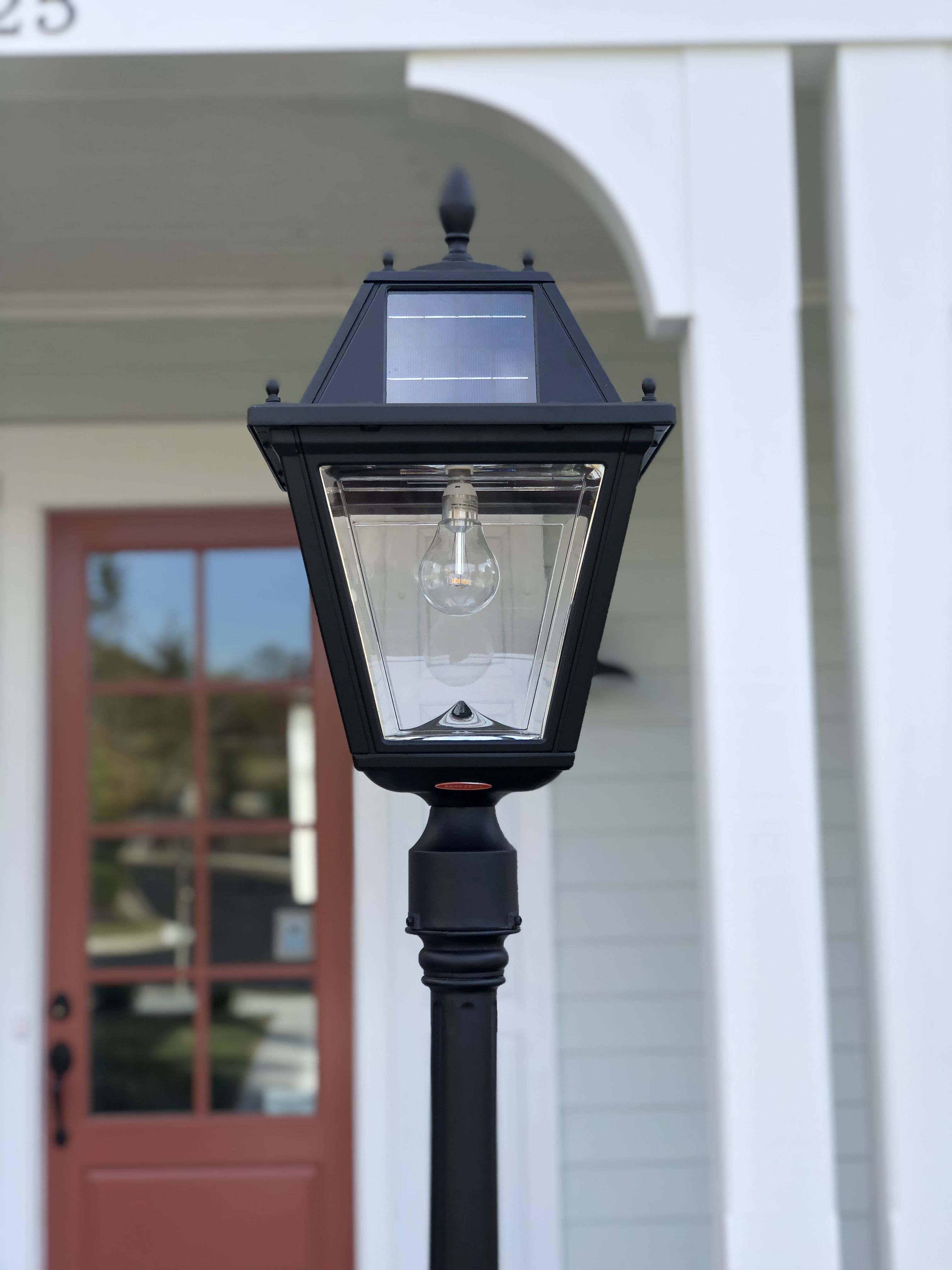 the regal solar post light can be mounted to any 3 inch outside diameter lamp post without the hassle of electrical wiring just place the light fixture in  [ 3024 x 4032 Pixel ]