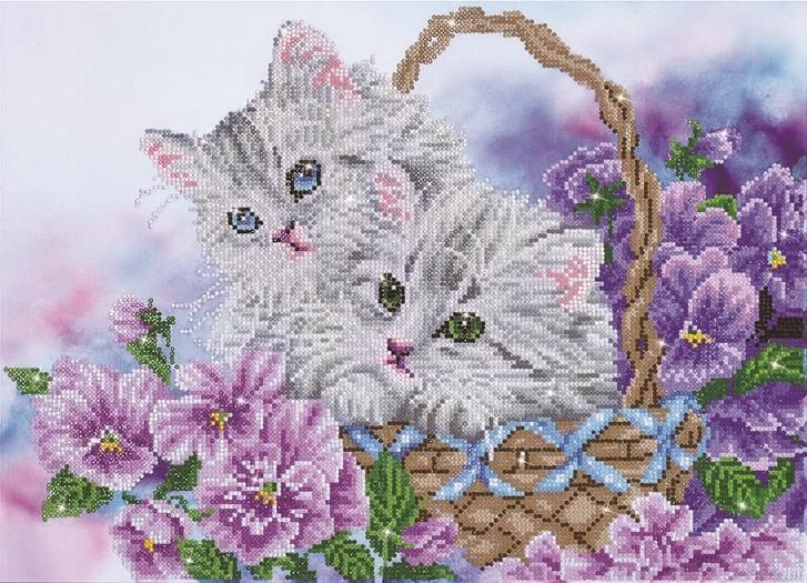 Diamond painting kit kitty basket diamond dotz 21x15