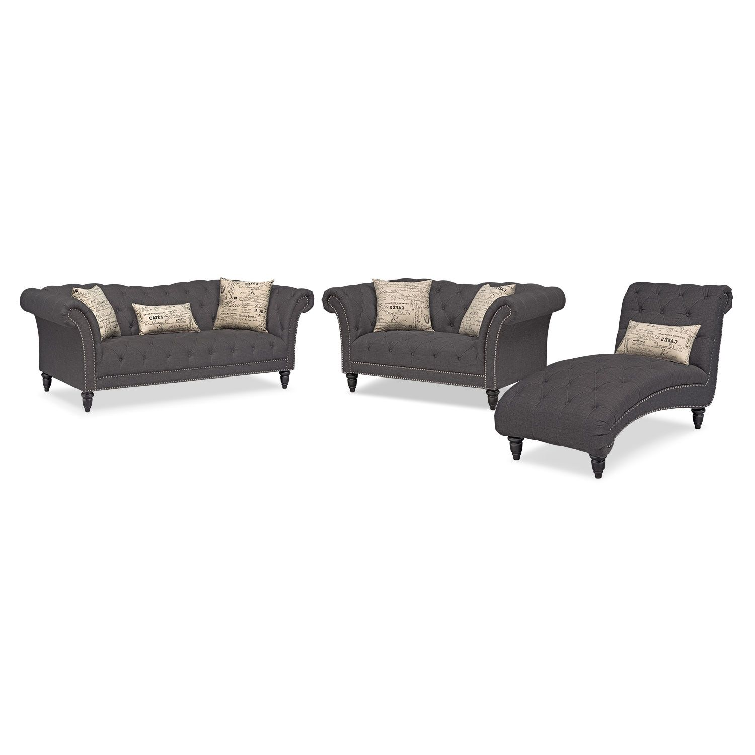 Marisol Sofa, Loveseat and Chaise Set - Charcoal | Living room ...
