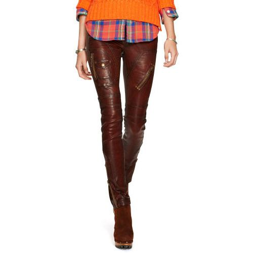 Polo Ralph Lauren Burnished Leather Skinny Pant Burnished Brown 2