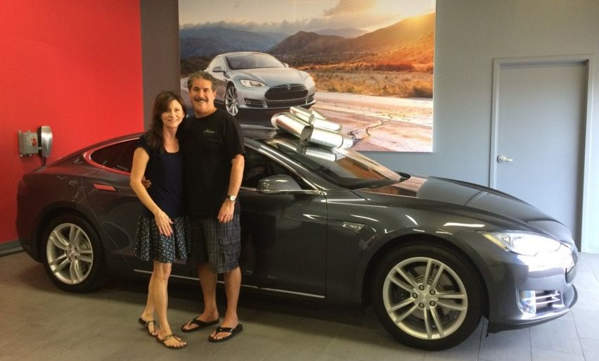 me and my wife picking up our tesla model s purchased through the rh pinterest com
