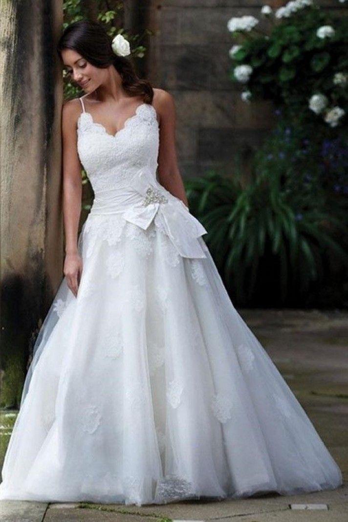 EUDORA - A-line V-neck Chapel train Satin Wedding dress | Wedding ...