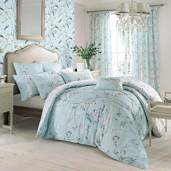 DUCK EGG BLUE FLORAL PIPED EMBROIDERED KING SIZE DUVET COVER