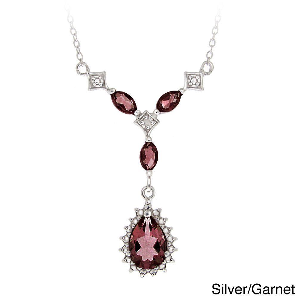 Glitzy Rocks Sterling Silver Multi-gemstone and Diamond Necklace (I-J, I2-I3) (