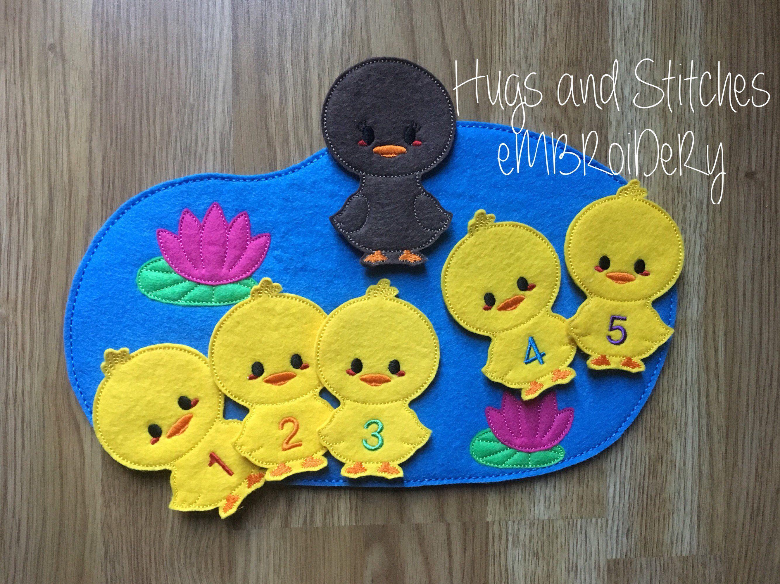 Five Little Ducks Went Swimming One Day Finger Puppet Set