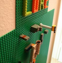 a Lego wall in a boy's room or on a basement wall