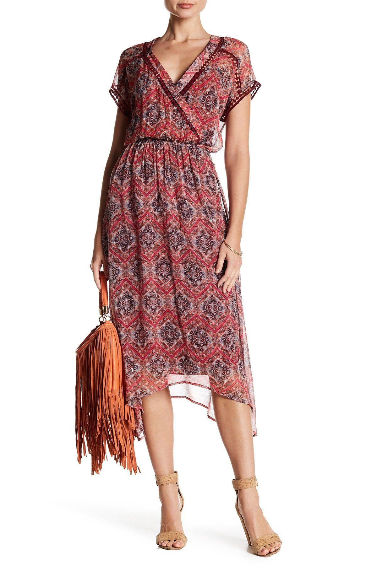 V-Neck Silk Print Dress
