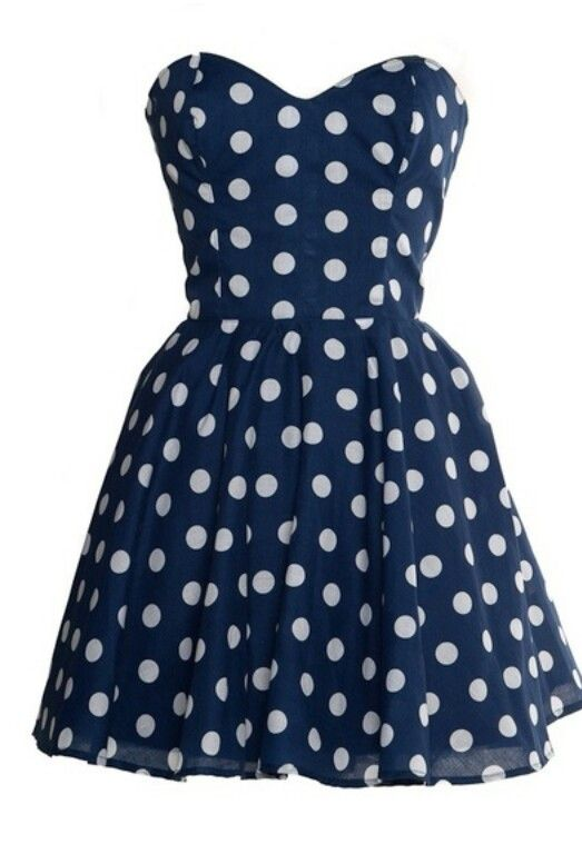 Navy blue polka doted dress.. So cute!!!:)