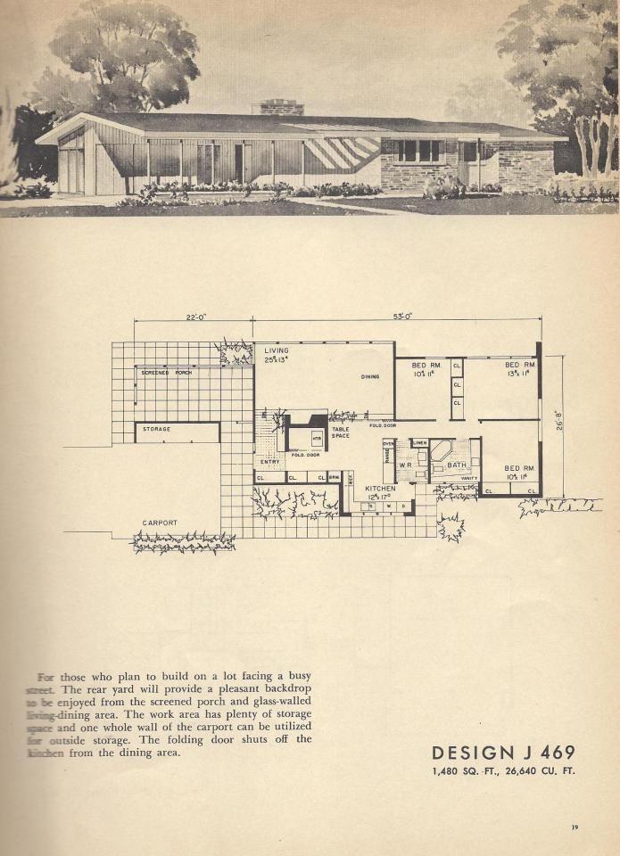 Vintage House Plans Mid Century House Plans