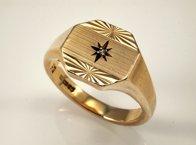 Mens Diamond Ring Vintage Mens Rings in 9k Gold, 1970s